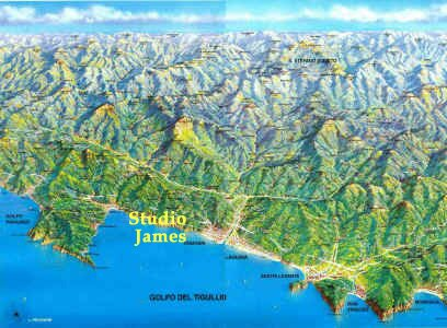 Tigullio Gulf and inland map - where You can find Studio James